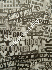 NEWS PRINT DESIGN GREASEPROOF PAPER WRAP LINER FISH CHIP SHOP TAKEAWAY FAST FOOD