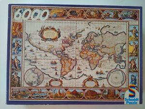 VINTAGE - SCHMIDT JIGSAW PUZZLE - ANCIENT WORLD MAP- 6000 PIECES 02168 - NEW