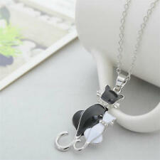 1PC Black White Crystal Cat Pendant Necklaces Women Silver Plated Chain Necklace