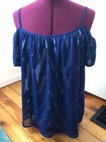 Michael Kors Womens Blouse Top Blue Short Sleeve Size Medium