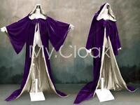 Halloween Velvet Hood Cloak Purple Gold Robe Wizard Wicca Pagan LARP LOTR S-6X