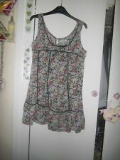 SIZE 6 RIVER ISLAND PRETTY DITSY FLORAL S/LESS TUNIC THIN COTTON TOP