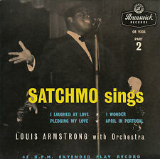 LOUIS ARMSTRONG - SATCHMO SINGS E.P. Part 2  , UK,  Brunswick, OE 9204   '56