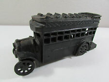 Vintage Heavy Large Black Toy Cast Iron Metal Double Decker Passenger Bus