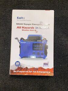 Kaito KA500 AM FM Shortwave Solar Crank Emergency NOAA Weather Alert Radio Blue