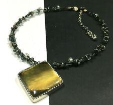 CHICO'S Golden Iridescent PENDANT NECKLACE Multi Strand Black Cord T15i