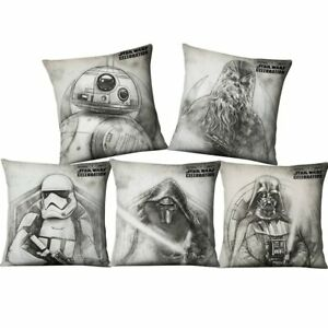Hand Paintings Star Wars Yoda Darth Vader Cushion Cover Home Decor Sofa Chair