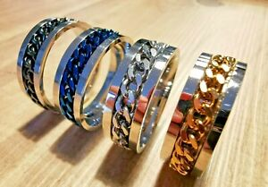 Mens Womens Titanium Stainless Steel Spinner Spin Ring Band Curb Chain Size N-X