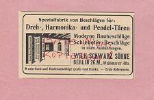 BERLIN, Werbung 1914, Wilh. Schwarz Söhne Dreh-Harmonika-Pendel-Türen