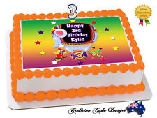 CIRCUS CLOWNS REAL EDIBLE ICING CAKE IMAGE RECTANGLE PARTY TOPPER