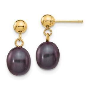 14k 7-8mm Black Rice Freshwater Cultured Pearl Dangle Post Earrings