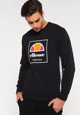 Ellesse Men's Sweatshirt Logo Crew Neck Black Maffioli Small