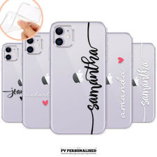 PERSONALISED CLEAR NAME SILICONE INITIALS PHONE CASE COVER APPLE IPHONE 11 X 7 8