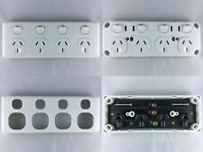 GPO Quad Power Point 4 Gang Four Socket Outlet Double Pole 10a 10 Amp 250 Volt