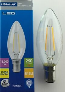 3x LED CANDLE FILAMENT CLEAR 3W NON DIM = 25 WATT SBC B15d MEGAMAN