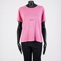 SAINT LAURENT PARIS 420$ Crewneck Tshirt In Fuchsia Cotton With Box Logo Print