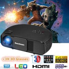 3D 5000 ANSI-LUMEN 1080P HD HEIMKINO BEAMER PROJEKTOR HDMI TV USB VGA MULTIMEDIA