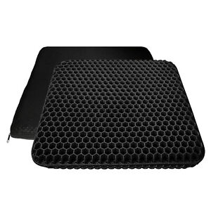 Gel Double Thick Breathable Egg Seat Cushion Pillow for Office Desk Chair Black