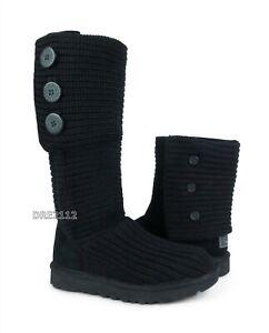 UGG Classic Cardy Black Knit Boots Womens Size 7 *NIB*