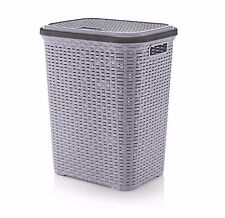 56L Laundry Basket Plastic Rattan Washing Clothes Hamper Storage Lidded Bin New