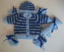 """New Hand  Knitted """"Ocean Blue"""" Themed Cardigan Set and Willy Whale Soft Toy"""