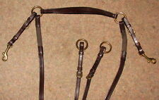 STEPHENS English Leather Elastic Hunting Breastplate & Running Martingale Brass