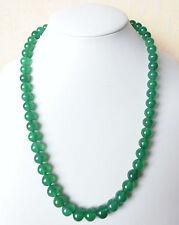 Edelsteinkette Grün Achat 50cm Halskette 9mm Perlen Collier True Gems