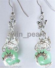 Beautiful green jade Dragon earring 18kgp