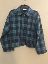 ZARA Trafaluc Womens Jacket Coat Large Blue Checked Snap Buttons NWT