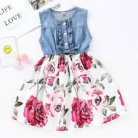 AU Toddler Kids Girls Summer Dress Denim Tops Floral Skirt One-piece Party Dress