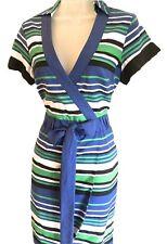 Ladies Karen Millen Graphic Striped Shirt Dress Blue Multi Cotton Size 8 10 14 10
