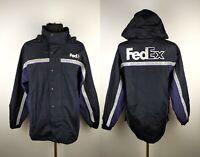 Sale% FedEx Stan Herman Reflective Hooded Uniform Zip Up Jacket Sz L / XL Top