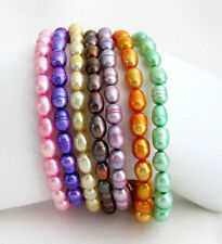 Multi-colored Freshwater Pearl Stretchable Bracelets Rice Shape Pearl Bracelet