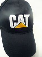 VTG Baseball Trucker Hat CAT Caterpillar Adjustable Embroidery Black Cap