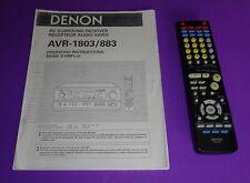 Denon AVR- 1803/883 AV Receiver Owner's Manual & Denon RC 916 Remote Control