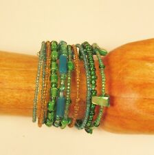 "1 1/2"" Green Multi Color Mixed Bead Bangle Handmade Beaded Cuff Bracelet"