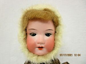 """Antique Straw Filled Mohair Teddy doll 16"""""""