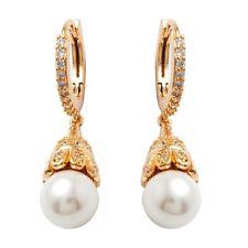 Elegant Lady Hoop Drop Earrings Clear Cubic Zircon Gold Plated Pearl Jewelry