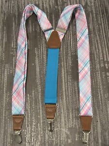 Mens Gillmons Pink Plaid Madras Suspenders Leather Tips Silver Clips Stretch