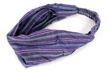 Bandana Cotton Head / Hair Band Tie Purple Stripes Hippy Boho Festival Wear