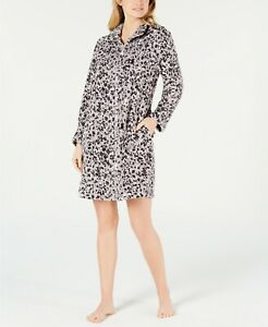 Miss Elaine Women's Petite Printed Fleece Short Zip-Up Robe Grey/PK PetitesS