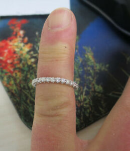 "1 carat Round Diamond Eternity Band Platinum ""U"" shape Ring, size 5.5, F VS"