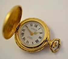 Vintage Lady's Pocket Watch Vinca Swiss Made Gold Plate