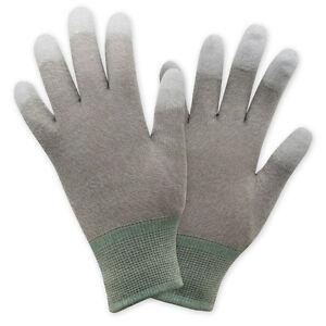 ESD Schutzhandschuhe aus Nylon mit Kupfergarn und PU Fingerkuppen 1 Paar