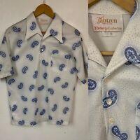 VTG 70s Mens Jantzen Short Sleeve Polo Shirt Paisley Pointed Collar Medium