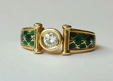 SUPERBE BAGUE Korloff ! ! ! OR JAUNE DIAMANT ET LAQUE ! T.50 DIAMOND RING