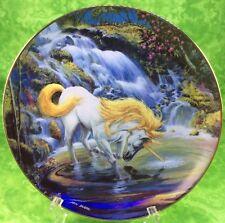 Fantasyland Unicorn Danbury Mint Plate The Magic Touch 1993 Horse Stallion Lake