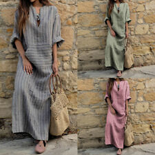 US STOCK Womens Plus Size Long Sleeve Shirt Dress Ladies Casual Maxi Baggy Dress
