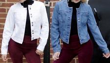 Womens Ladies Oversized Jeans Jacket Denim Blazer Casual Waistcoat 6 to 16