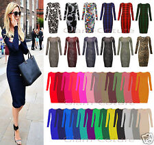 Damen Langärmliges Midi-kleid Stretch Bodycon Einfarbiges Jersey Maxi Übergrößen